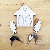 Laserò Schlüsselring | Schlüsselanhänger mit Wandhalterung | Schlüsselhalter aus Holz | Für Haus und Büro, das perfekte Wohnaccessoire | Ideal als Geschenk für Paare | Für Sie und Ihn