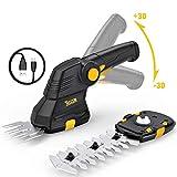 TECCPO Akku Grasschere, 3.6V 1.5Ah, USB-Ladekabel, Akku Strauchschere, 2 in 1 Schneller Werkzeugloser Schalter, Drehgriff, Deal für den Garten - TDGS01G