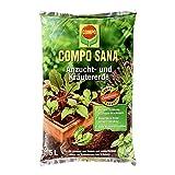 COMPO 1062002004 SANA Anzucht- und Kräutererde mit 6 Wochen Dünger für alle Jung- und Kräuterpflanzen, Kultursubstrat, 5 Liter