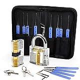 Lockpicking Set, Eventronic 17-Teiliges Dietrich Set mit 2 Transparentem Trainingsschlössern und Anleitung für Schlosserei, Anfänger und Profisrleicht