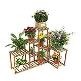 Malayas Pflanzenregal Holz Blumentreppe 5 Ebenen Blumenständer für Blumentöpfe Halter Rack Gartenregal Indoor Outdoor Balkon Wohnzimmer Deko, Blumenregal Mehrstöckig, 115x65x91cm, Braun