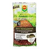 COMPO Rasen Fit+, 5 in 1 Keimsubstrat, Für die Bodenverbesserung oder nach dem Vertikutieren, 20 Liter, 10 m²