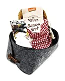 Charming Boxes Geschenkkorb Brot und Salz - Einzug, Einweihung, Richtfest - Bio-Backmischung (Anthrazit)