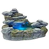 STILISTA Mystischer Gartenbrunnen OLYMP in Steinoptik 100x80x60cm groß Springbrunnen inkl. Pumpe und LED- Beleuchtung rot blau gelb grün