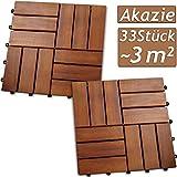 Deuba 33x Holzfliesen Akazie Mosaik | FSC-zertifiziertes Akazienholz | 3m² Fliese 30x30 cm Stecksystem | Zuschneidbar Terrasse Balkon