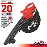 Grizzly Elektro 3in1 Laubsauger Laubbläser Häcksler EL 2800 Blasgeschwindigkeit 270 km/h 2800 Watt Große Räder mit Fangsack und Tragegurt