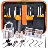 Lockpicking Set, Dietrich Set - 17-Teiliges Lock Pick Training Set mit 3 Transparentem Trainingsschlössern für Anfänger und Profis Schlosser