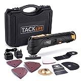 Multifunktionswerkzeug-Tacklife PMT01B Oszillierendes Werkzeug, 6 Geschwindigkeiten und Schnellwechselfutter, 12V, 2.0Ah Akku mit Ladegerät(100-240V) und Batterieanzeige, LED-Licht und Profi-Koffer, zum Schleifen, Schneiden und Polieren, mit 24 Zubehör