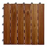 casa pura Terrassenfliesen Set Arden | Holz, Akazien | 55 Stück - 5m²