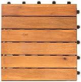 Vanage Holzfliesen 27-er Kachel Set, Geeignet als Terrassenfliesen und Balkonfliesen, aus Akazien Holz, Design: Classic, Braun, 30 x 30 x 2,4 cm