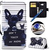 Etsue Kompatibel mit Samsung Galaxy A5 2017 Handytasche Handy Hüllen Flip Case Cover Schutzhülle Brieftasche Ledertasche Wallet Lederhülle Etui Bookstyle Klapphülle Kartenfächer,Niedlich Hund