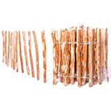 BOGATECO Staketenzaun Haselnuss Kastanie | Holz-Zaun 70 cm Hoch & 500 cm Lang | Lattennabstand 7-8 cm | Perfekt als Gartenzaun