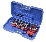 7tlg. Set Gewindeschneidkluppe Rohrgewindeschneidsatz Kluppe 1/2, 3/4, 1 und 1 1/4 Zoll im Koffer blau