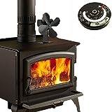 Exing Stove Fan 4s Holzofen 4 Klingen Herd Eco Fan Herd Kamin Feuer Wärmebetriebene Umluftventilatoren Ultra Leise + Ofenrohr Thermomete