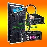200 Watt Inselanlage, 12 Volt Komplett SET mit Spannungswandler mit Batterie von bau-tech Solarenergie GmbH