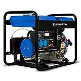 EBERTH 3000 Watt Diesel Stromerzeuger (E-Start, 5,7 PS 4-Takt Dieselmotor, Ölmangelsicherung, Automatischer Voltregler AVR, 1-Phase, 2x 230V, 1x 12V)