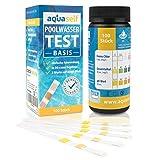 aquaself Poolwasser-Test Basis – Wassertester für Pool auf pH und Chlor und Gesamtalkalinität – 100 Stück Wasserteststreifen.