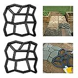 Froadp 2 Stück Betonform Schwarz Schalungsform DIY Pflasterform aus Kunststoff Betonpflaster Gießform Muster für Gehwegen Trittsteinen Garten Rasenbahnen(43x43x4cm, Unregelmäßig - 9 Kammer)
