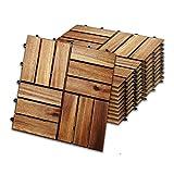 wolketon 30 x 30 cm Akazien-Holz Holzfliesen 22er Set für 2 m² Garten-Fliese Bodenbelag mit Drainage, Klick-Fliesen für Garten Terrasse Balkon