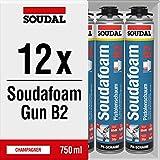 12x Soudal Soudafoam Gun B2 Pistolenschaum PU Schaum Montageschaum Füll- & Dämmschaum 750 ml