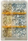 SBS Fitschenringe Sortiment Set | Inhalt 120 Stück | Ø 10mm, 11 mm, 12mm | im praktischem Sortimentskasten | vermessingt verzinkt