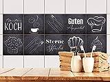 GRAZDesign Fliesenaufkleber Anthrazit mit Spruch Guten Appetit für Küche | alte Küchen-Fliesen überkleben | Fliesenbild selbst gestalten (15x15cm // Set 10 Stück)