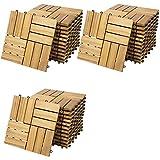 Deuba 33x Holzfliesen Akazie Mosaik | FSC®-zertifiziertes Akazienholz | 3m² Fliese 30x30 cm Stecksystem | Zuschneidbar Terrasse Balkon
