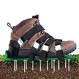 Aunus Rasenbelüfter Rasenlüfter Vertikutierer Rasen Vertikutierer Rasen Nagelschuhe mit 5 Verstellbare Gurte und Metal,Universalgröße passt Schuhe oder Stiefel für Rasen Hof