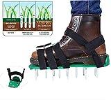 Keast Rasenlüfter-Schuhe in Universalgröße mit 5 verstellbaren Metallriemen, für den Garten, Rasenlüfter, Vertikutierer, Schuhe, passend für Ihren Rasen und Hof