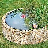 bellissa Gabionen Hochteich - 95577 - Teich für den Garten, inkl. Teichfolie und Trennvlies - Durchmesser 146/126 cm, Höhe 40 cm