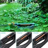 FIXKIT Rasensprinkler 3 in 1 Automatischer Rasen-Sprenger 3 Verstellbare Spreng-Reichweite mit 6/12/19 Löchern Bewässerungsfläche 280㎡ für Rasen Garten Gemüse Landwirtschaft