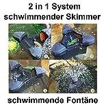 Aquaristikwelt24 CSP-2500 schwimmender Skimmer incl. Teichfontäne bis zu 40m² 2in1 System Teich Teichskimmer Algenfrei Filteranlage Oberflächenskimmer