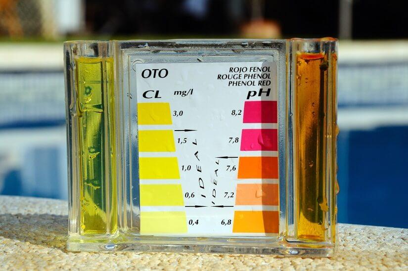 Ausstattung zur Messung von Chlor- und pH-Werten im Pool