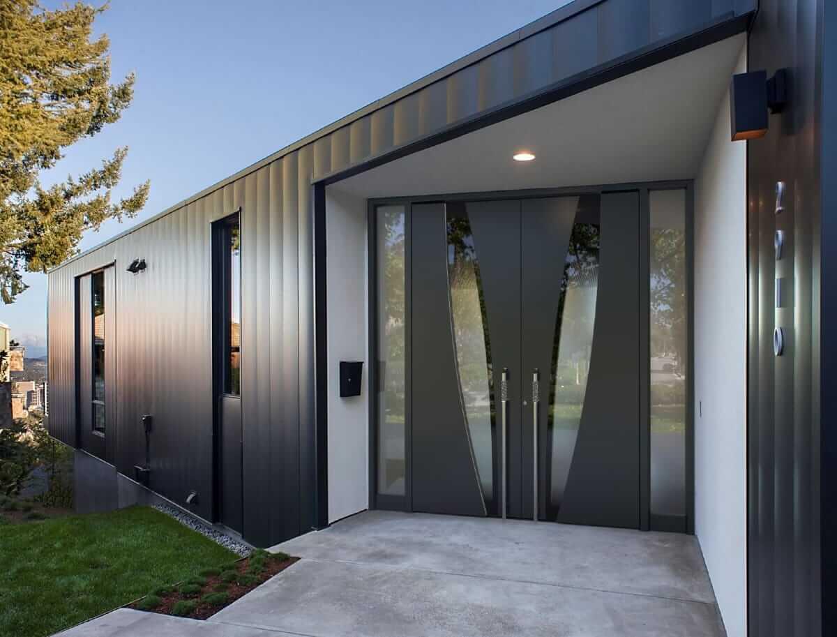 Doppelte Haustür aus Aluminium