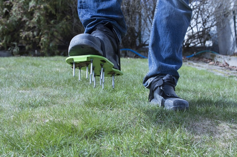 Rasenboden wird gelüftet mit Rasenlüfterschuhen